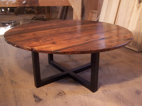 Free Shipping Large Round Coffee Table With Industrial Metal