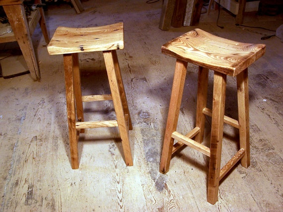 Reclaimed Wood Saddle Stools - Wood Saddle Stools