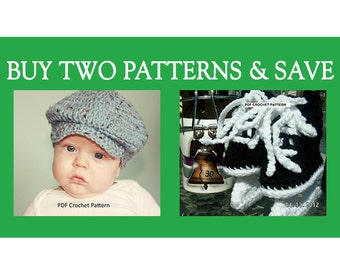 Instant Download - Buy Donegal Cap and Hockey Skates Crochet Patterns and Save