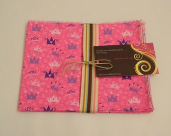 Princess Cotton Lunchbox  Napkins set of 2  Eco Friendy Hand Made in the USA