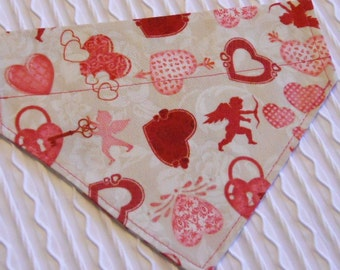 Dog Bandana with Cupids and Hearts Custom Sizes S to XL
