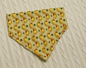 Dog Bandana with Shiny Gold Design in Over the Dog Collar Style XS to XL