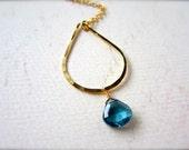Ocean's Depth Necklace - london blue topaz necklace, blue topaz teardrop necklace, london blue topaz december birthstone, handmade, N11
