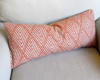 Ikat TANGERINE decorative designer lumbar bolster pillow 1x26 insert included