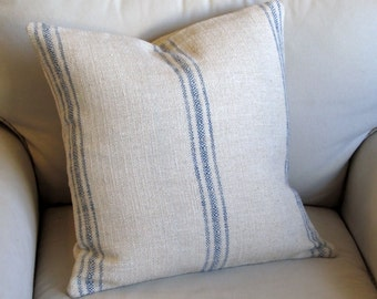French Laundry BLUE  Stripes 20x20 pillow With INSERT