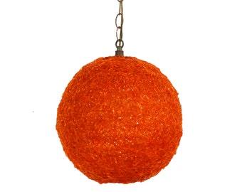 Holiday Sale Orange Spun Fiberglass Swag Lamp Mid Century Modern