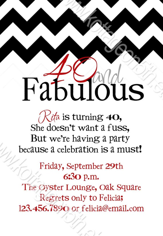 Fabulous Chevron - 21st 30th 40th 50th 60th Birthday Party Invitation ...