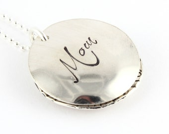 Christmas Gift - Sterling Silver Birthstone Locket Necklace - Custom Personalized Hand Stamped Gift for Mom