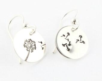 Wish Dandelion Dangle Earrings - Custom Sterling Silver Hand Stamped Earrings - Garden Lover - Christmas Gift