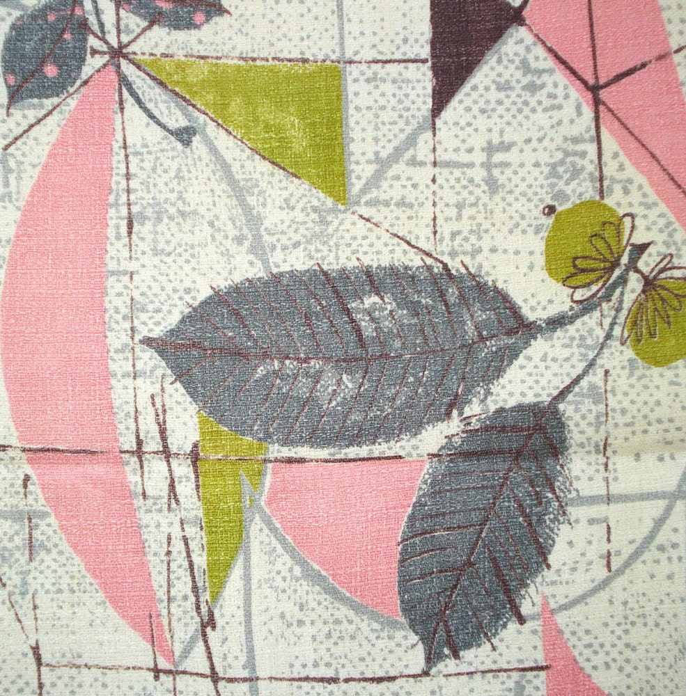 Vintage Barkcloth Fabric Fabulous Fifties Print Pink And