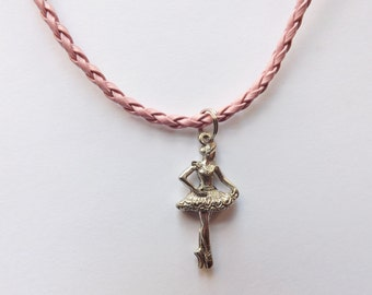 Ballerina Charm Necklace pendant silver pewter pink leather or chain lead-free USA-made 3-dimensional