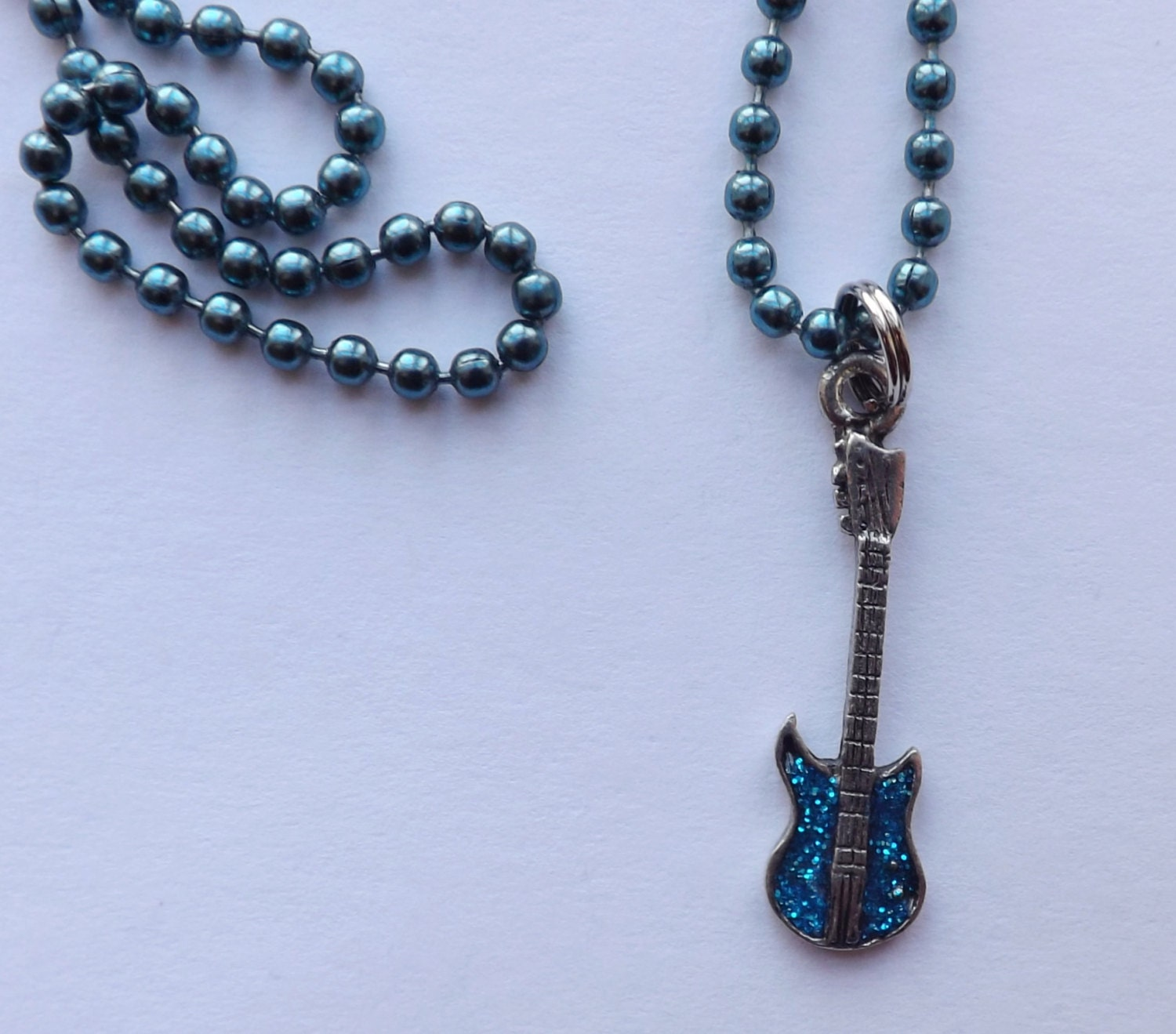 electric guitar charm necklace pewter blue chain or leather