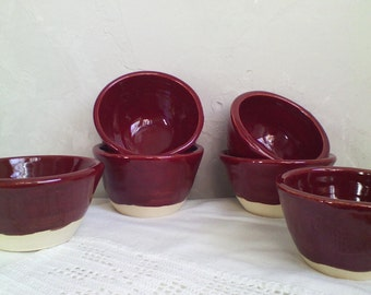 Set of Six Ruby Red Bowls