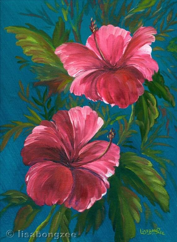PINK HIBISCUS Original Oil Painting 12x9 Art Artwork Tropical Flower Floral Hawaii Hawaiian Botanical Tropics Foliage Lisabongzee