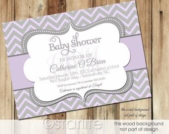 Monogram Baby Shower Invitation Girl Sprinkle Invite Chevron Lavender Gray Grey - Personalized Printable or Printed Invitations
