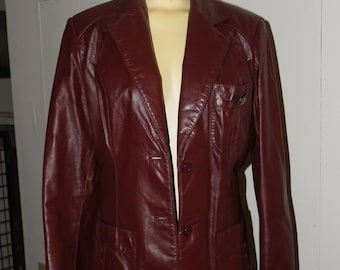 Oxblood Leather Etienne Aigner Jacket