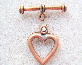 Clasp, Pewter, Copper,  HEART,  TOGGLE,  4 Sets, Closure, Bracelet Clasp, Antiqued