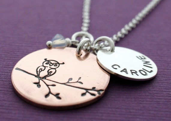 Owl Necklace in Copper and Silver PLUS ONE - Hand Stamped, Engraved Necklace w/ Child's Name and Birthstone Crystal - Personalized Necklace