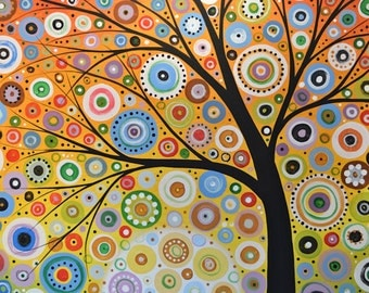 Colorful tree art print ... Rays of Hope -- Signed 8 x 10 Glossy Print, from my original painting