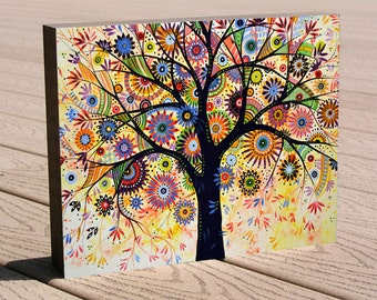 "Whimsical tree art print ...8 x 10 print mounted to a deep birch panel...ready to hang....""Life Giver"", by Amy Giacomelli"