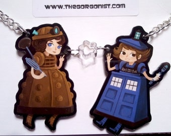 Whovian Cosplay Girls acrylic charm necklace by The Gorgonist