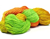 150 Yards Hand Dyed Cotton Crochet Thread Size 10 3 Ply Specialty Thread Orange, Golden Yellow, Spring Green Hand Painted Fine Cotton Yarn