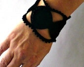 Irish Crochet Bracelet Fiber Bracelet  in Black Steampunk Medallions Lace Gothic Bangle Bracelet
