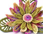 Crochet Brooch Fiber Brooch Irish Crochet Pin Daisy Brooch Yellow Green Fuchsia  Purple Crochet Flower Pin Crochet Flower Brooch