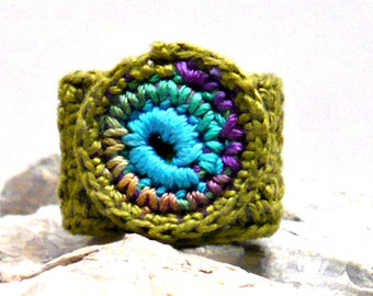 Crochet Ring Fiber Ring  Circular Applique Peacock Teal Purple Green on Olive