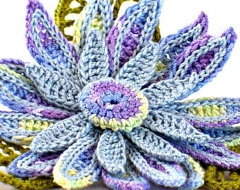 Crochet Brooch Fiber Brooch Irish Crochet Pin Daisy Brooch Blue Yellow Purple Green Crochet Flower Pin Crochet Flower Brooch