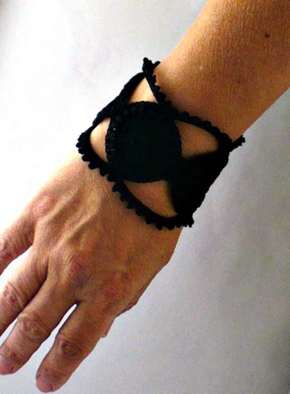 Irish Crochet Bracelet Fiber Bracelet  in Black Steampunk Medallions Lace Gothic Bangle Bracelet