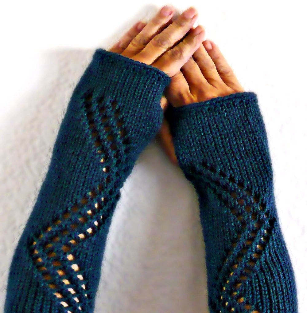 Knitting Pattern Gauntlet Gloves : Knit Hand Warmers Gauntlets Blue Lace Gloves by ...