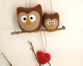"Needle Felted ""Mother and Child "" Owls Ornament - Wool Hoot Mom -  Mothers Day"