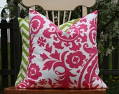 Modern Candy Pink and White Pillow Cover