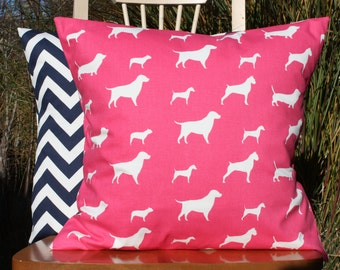Pink and White Dog Silhouette Pillow Cover