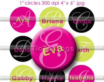 Editable Girl's Names Bottle Cap Digital Set 1 Inch Circle Stickers Initials Top 4X6 - Instant Download - BC128