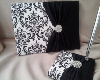 Damask Guest Book and Pen Set Black White Rhinestone