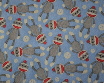 Blue Sock Monkey  and buttons Printed Felt