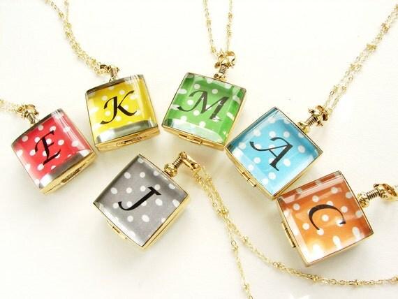 Bridesmaid jewelry, Wedding Party gift, monogram locket, personalized jewelry initial locket necklace