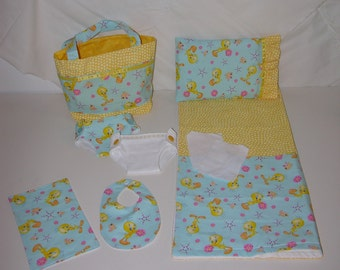 Bitty Baby Basics in Tweety Bird- Diaper Bag and Diapers with Blanket
