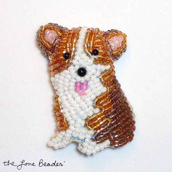 SALE: Beaded CORGI PUPPY bead embroidery dog art pin (Ready to Ship)