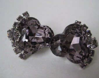 Purple Rhinestone Earrings Clip Silver Vintage