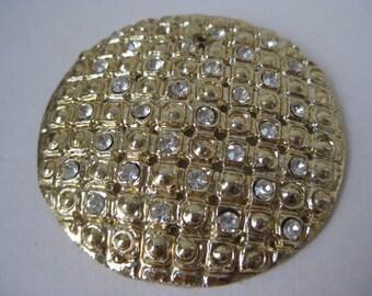 Gold Rhinestone Brooch Circle Round Vintage Pin