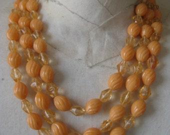Orange Three Strand Necklace Vintage