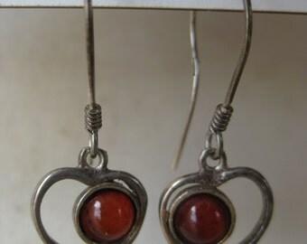 Heart Orange Sterling Silver Earrings Pierced Wire Vintage Dangle 925
