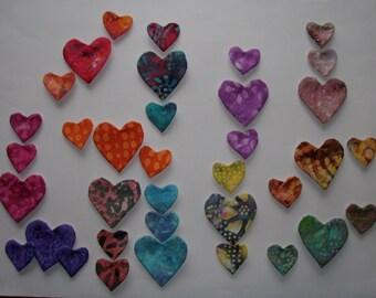 Batik Hearts Appliques for Quilts     12 sets of 3       Lot 301