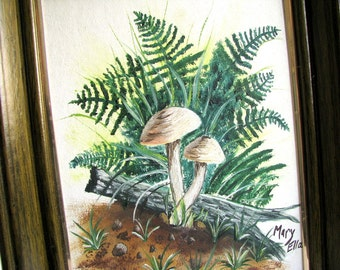 Vintage 1970's Hand Painted Woodland Picture - Mushrooms and Ferns