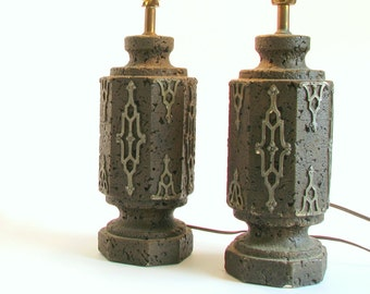 2 Vintage 1970's Table Lamps - Brown and Bronze Lamps