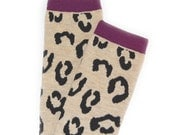 Crawler Covers Baby Leg Warmers---Light Brown with Leopard Print