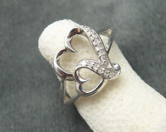 Sterling Double Heart Ring CZ R5127
